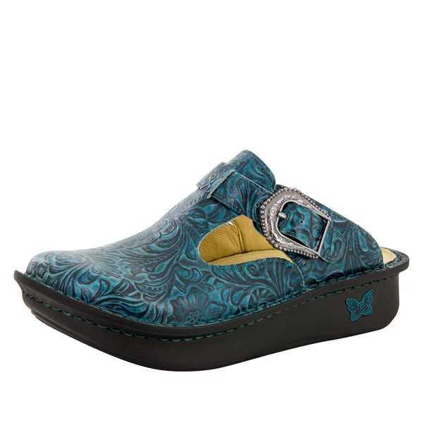 Alegria Classic Teal Tooled womens open back clog