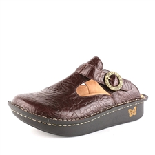 Alegria Classic Brown Emboss Rose open back clog for women