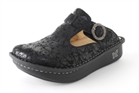Alegria Classic Desert Black womens leather open back clog