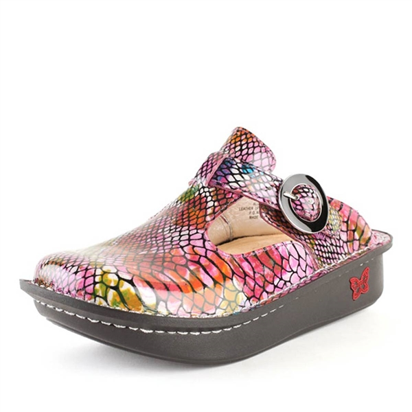 Alegria Classic Rainbow Snake leather open back shoe for women
