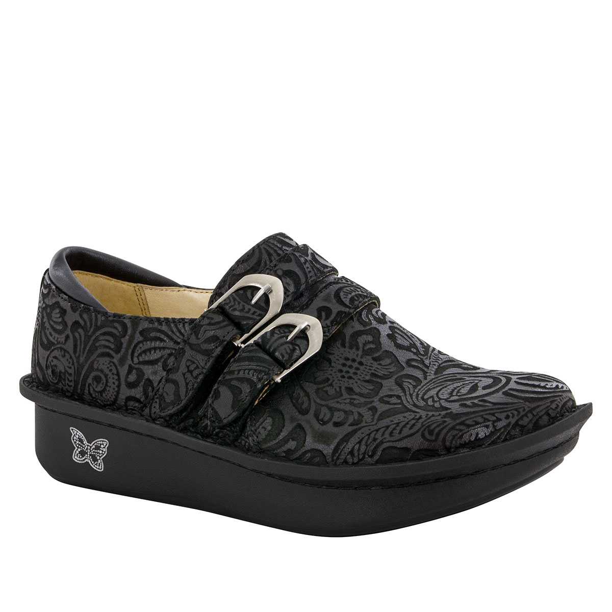 Nurse Alegria Alli Black Embossed Paisley Alegria Shoes
