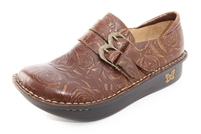 Alegria Alli Choco and Gold Rose womens slip resistant loafer