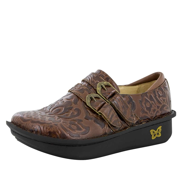 Alegria Alli Yeehaw Brown womens brown leather stain resistant oxford