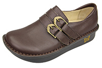 Alegria Alli Cacao womens brown leather stain resistant oxford