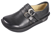 Alegria Alli Burnish Black womens slip resistant leather loafer