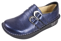 Alegria Alli Blue Black Tumbled womens leather stain resistant loafer