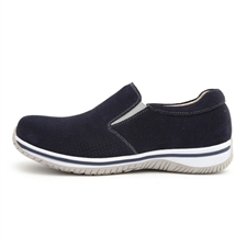 Alegria Mens Aaron Navy Suede comfort athletic loafer on sale