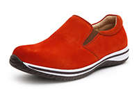 Alegria Mens Aaron Orange Suede leather athletic loafer on sale