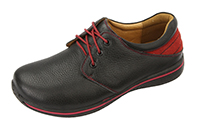 Alegria Men's Alex Black Tumbled with Red leather oxford