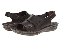 Alegria Mens Antigua Dark Brown leather casual slip resistant sandal