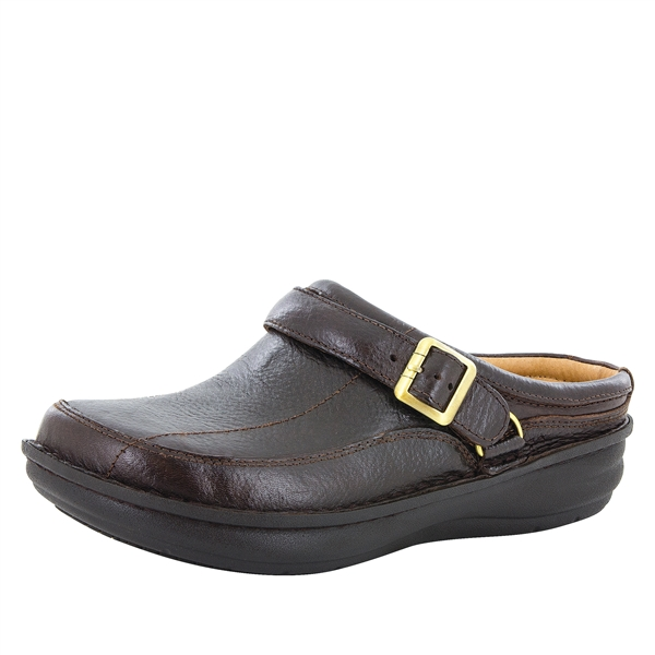 Alegria Men's Chairman Dark Brown Wax Tumbled slip resistant open back clog