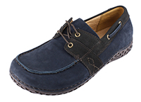 Alegria Mens Franklin Navy Leather laced comfort boat style shoe