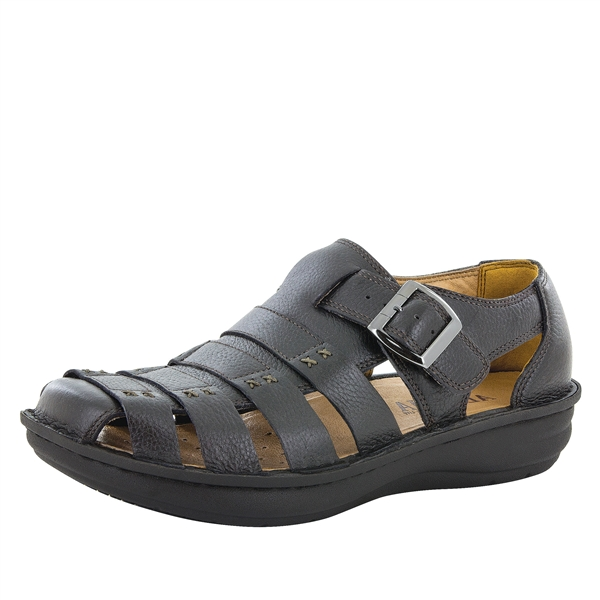 Alegria Mens Martinique Black Tumbled casual comfort strap sandal