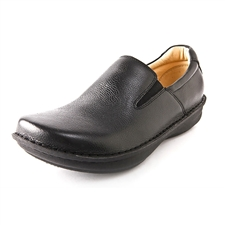 Alegria Mens Oz Black Tumbled Leather slip resistant comfort loafer