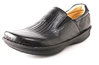 Alegria Mens Oz Black Wave Leather professional slip resistant loafer