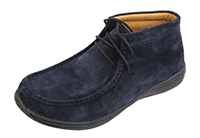 Alegria Men's Packard Navy Suede leather moccasin ankle boot