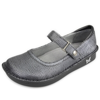 Alegria Belle Grid Silver leather womens mary jane comfort shoe