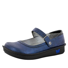 Alegria Belle Grid Blue leather womens mary jane comfort shoe