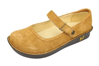 Alegria Belle Tan Paisley Suede leather womens mary jane comfort shoe