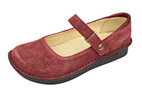 Alegria Belle Wine Paisley Suede leather womens mary jane comfort shoe