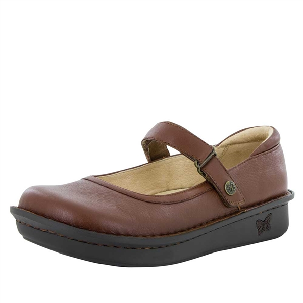 Alegria Belle Pecan leather womens mary jane comfort shoe
