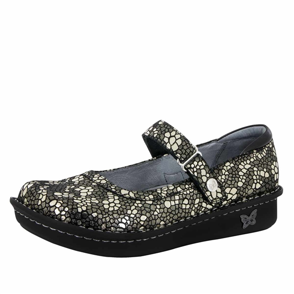 Alegria Belle Pewter Mosaic leather womens mary jane comfort shoe