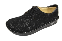 Alegria Bree Black Sprigs comfort oxford shoes for women with laces