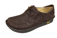 Alegria Bree Choco Sprigs comfort oxford shoes for women with laces