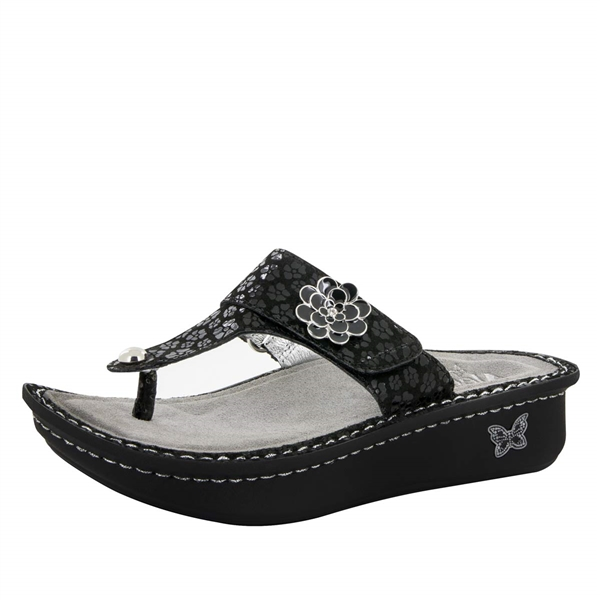 Alegria Carina Night Poppy womens leather thong sandal
