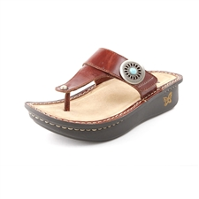 Alegria Carina Brown Pullup leather flip flop sandal for women