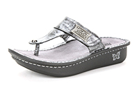 Alegria Carina Pewter Black Tumble leather sandal for women