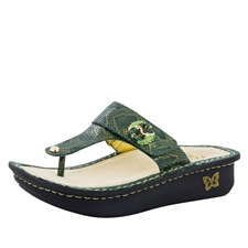 Alegria Carina Fancy Fish womens leather thong sandal