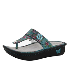 Alegria Carina Aqua Flora womens leather thong sandal