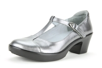 Alegria Coco Pewter womens t-strap leather dress comfort shoe