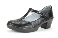 Alegria Coco Black Snake leather t-strap comfort shoe for women