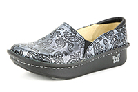 Alegria Debra Silver Embossed Paisley professional nursing shoes for women