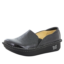 Alegria Debra Black Embossed Rose womens slip resistant nursing shoe