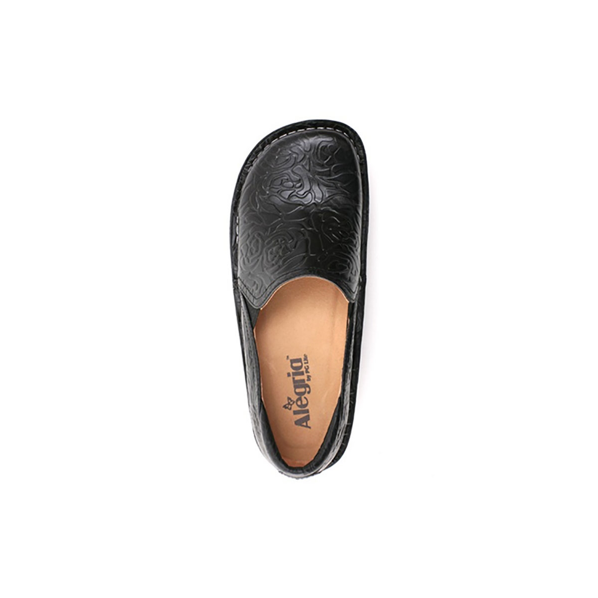 Nurse Alegria Debra Black Embossed Rose Nursing Shoes