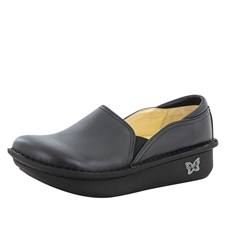 Alegria Debra Black Leather womens stain resistant nursing shoes