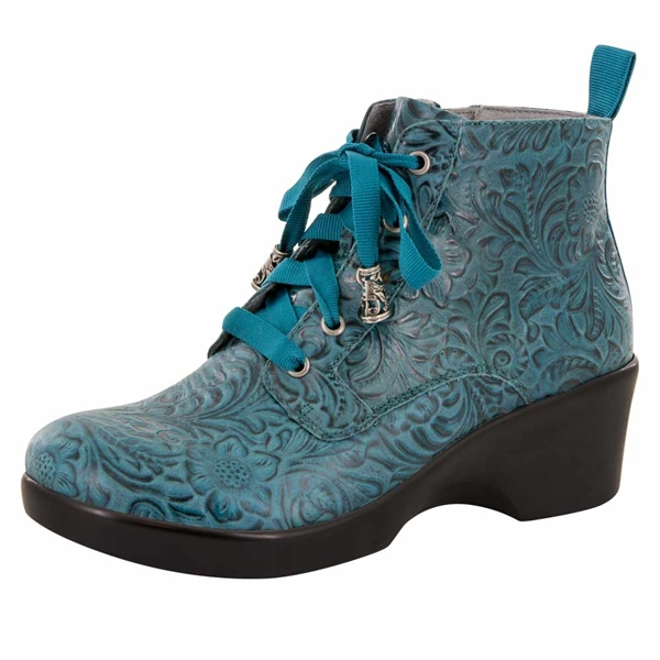 Alegria Eliza Teal Tooled women's wedge booties
