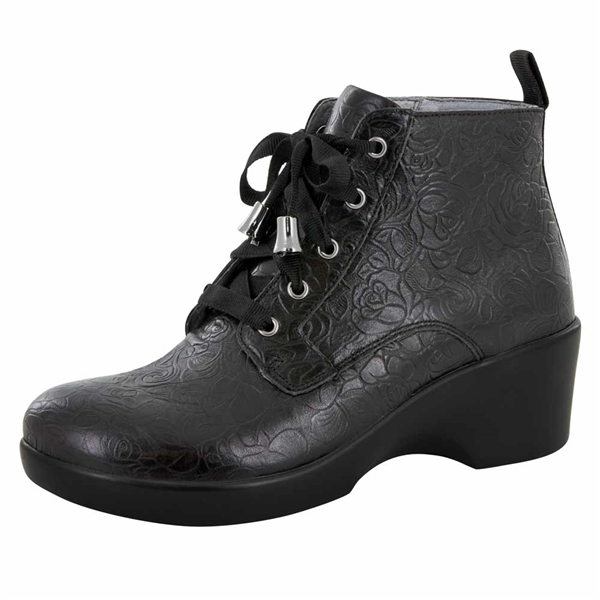 Alegria Eliza Black Bloom women's wedge booties