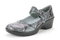 Alegria Ella Onyx Snake womens leather mary jane shoes