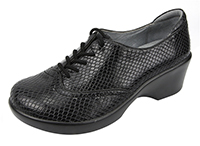 Alegria Etta Black Burnish Snake womens dress oxford comfort shoe