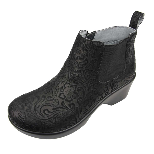 Alegria Ever Black Embossed Paisley Boot