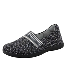 Alegria Glee Ric Rack black and white slip resistant comfort flats for women