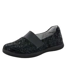 Alegria Glee Interlockin' Black slip resistant comfort flats for women