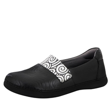 Alegria Glee Black Swirl Stamp slip resistant comfort flats for women