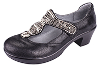 Alegria Hazel Black Crackle t-strap womens leather dress shoe