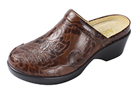 Alegria Isabelle Yeehaw Brown womens leather wedge mule shoes