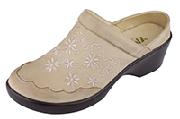 Alegria Isabelle Cream leather wedge mule shoe for women